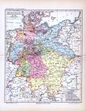 Farbig lithographierte Geschichtskarte der deutschen...