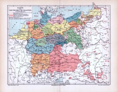 Farbige Lithographie der Karte der Deutschen Mundarten nach Dr. Emil Maurmann.