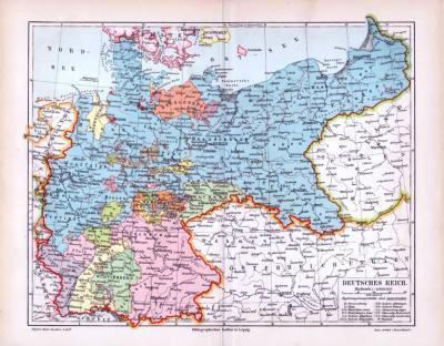Farbig lithographierte politische Karte des deutschen Reichs von 1893 im Maßstab von 1 zu 4.600.000.