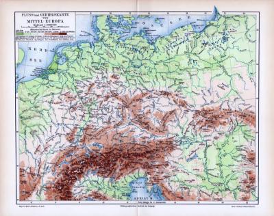 Farbige Lithographie einer topographischen Karte von Mitteleuropa. Maßstab 1 zu 6.000.000 Höhenschichtenangaben in Metern farbig dargestellt.