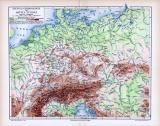 Farbige Lithographie einer topographischen Karte von...