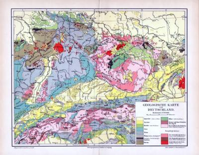 Farbig lithographierte geologische Landkarte von Deutschland aus 1893 im Maßstab 1 zu 3.750.000 Geologische Zeitalter in farbiger Darstellung.
