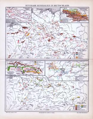 Farbig lithographierte Landkarte der nutzbaren Mineralien in Deutschland von 1893. Im Maßstab 1 zu 6.000.000.