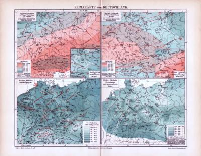 Farbige Lithographie von 4 Klimakarten über Deutschland von 1893. Luftdruck- und Wärmeverteilung im Januar / Juli, sowie Bewölkungsgröße und Regenmenge.