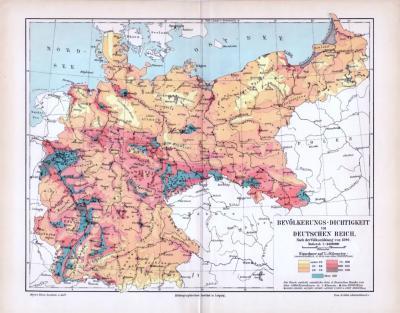 Farbige Lithographie zur Bevölkerungsdichte Deutschlands aus dem Jahr 1893 im Maßstab 1 zu 4.600.000. Mit Daten der Volkszählung aus 1890.