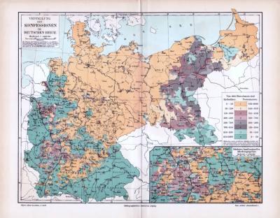 Farbig lithographierte Landkarte Deutschlands aus dem Jahre 1893 zur Verteilung der Konfessionen. Maßstab 1 zu 4.000.000.