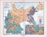 Farbig lithographierte Landkarte Deutschlands aus dem...