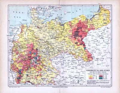 Farbige Lithographie einer Landkarte des Deutschen Reichs zur Verteilung der jüdischen Konfession um 1893.