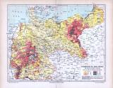 Farbige Lithographie einer Landkarte des Deutschen Reichs...