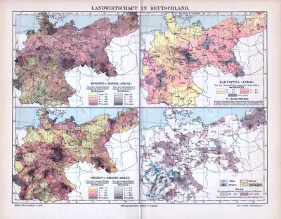 4 farbige Lithographien auf einer Seite zum Thema Landwirtschaft in Deutschland. Roggen und Haferanbau, Kartoffelanbau, Weizen und Gersteanbau und Wein, Hopfen, Tabak, Flachs, Gemüse.