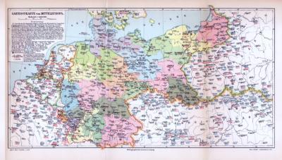 Farbige lithographierte Militärkarte von Mitteleuropa aus 1893. Im Maßstab 1 zu 4.600.000. Standorte und Bezeichnungen der Korps auf der Karte.
