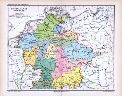 Farbig lithographierte Geschichtskarte über Deutschland um das Jahr 1.000. Maßstab 1 zu 5.500.000, nach Karl Wolf.