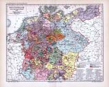 Farbig lithographierte Landkarte zeigt Deutschland zum Tod Kaiser Karls IV. um 1378. Revidiert von Karl Wolf, Maßstab 1 zu 5.500.00.