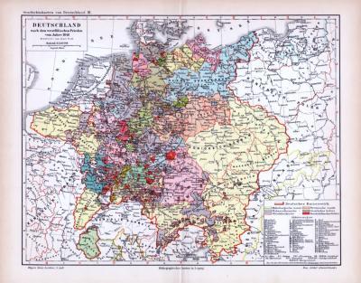 Farbig lithographierte Landkarte zeigt Deutschland nach dem westfälischen Friedn 1648, bearbeitet von Karl wolf, im Maßstab 1 zu 5.500.000.