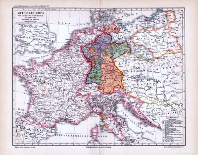 Farbige Lithographie von mitteleuropa zum Beginn der Freiheitskriege 1813, entworfen von Carl Wolf. Maßstab 1 zu 8.000.000.