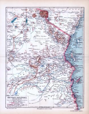 Farbig lithographierte Landkarte der Kolonie Deutsch Ostafrika aus 1893. Maßstab 1 zu 2.000.000