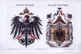 Chromolitographie von 1893 zeigt das große Kaiserwappen und den deutschen Reichsadler.