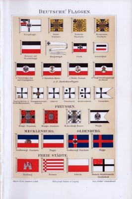 Chromolithographie von 1893 zeigt Deutsche Flagge aus Kaiserreich, Preusse, Mecklenburg, Oldenburg und verschiedener Freier Städte.