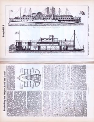 Abhandlung und Stiche zum Thema Dampfschiff aus dem Jahr 1893. Die beiden Blätter zeigen Skizzen und Stiche von Dampfschiffen.
