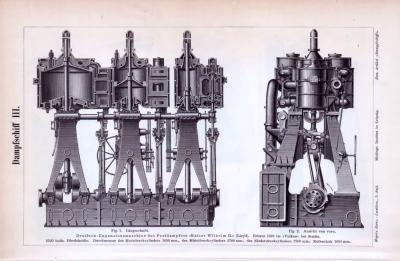2 Stiche zum Thema Technik von Dampfschiffen aus dem Jahr 1893.