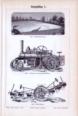 2 Stiche aus 1893 zum Thema Dampfpflug zeigen verschiedene Maschinensysteme im Einsatz in der Landwirtschaft.
