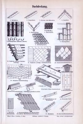 2 Stiche aus 1893 rund um das Dachdeckerhandwerk. Verschiedene Dachformen und Techniken werden skizziert.