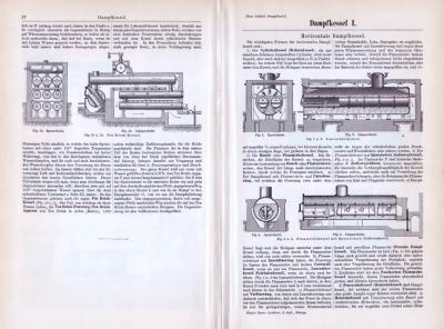 Technische Abhandlung mit Skizzen zum Thema Dampfkessel.