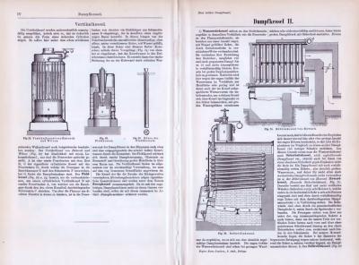 Technische Abhhandlung mit Skizzen aus dem Jahr 1893 zum Thema Dampfkessel.