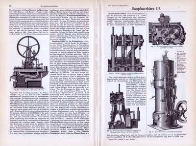 Technische Abhhandlung aus 1893 zum Thema Dampfmaschinen mit Skizzen und Stichen.