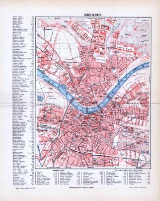 Farbig lithographierter Stadtplan von Dresden aus 1893 mit alphabetischen Straßenverzeichniss und Straßenraster.