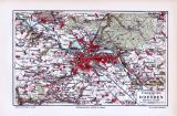 Farbig lithographierte Landkarte der Umgebung von Dresden aus 1893.