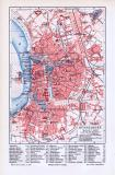 Farbige Lithographie eines Stadtplans von Düsseldorf aus 1893 im Maßstab 1 zu 24.000. Straßenregister enthalten.