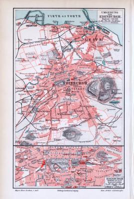 Farbige Lithographie einer Karte von Edinburgh aus dem Jahr 1893. Maßstab 1 zu 50.000 + Innere Stadt Maßstab 1 zu 25.000.