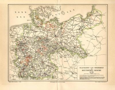 Farbig lithographierte Karte der Staatsbahnen und Privatbahnen im Deutschen Reich aus dem Jahr 1894.