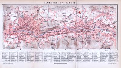 Landkarte von Elberfeld und Barmen aus 1893. Farbige Illustration im Maßstab 1 zu 20.000.