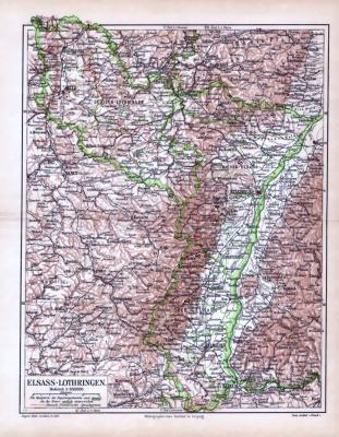 Landkarte von Elsass Lothringen aus 1893. Farbige illustration im Maßstab 1 zu 850.000.