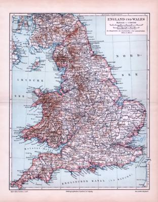 Landkarte von England und Wales aus 1893. Farbige Illustration im Maßstab 1 zu 2.500.000.