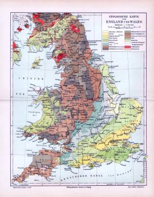 Farbige Illustration einer geologischen Landkarte von England und Wales aus 1893. Maßstab 1 zu 2.500.000.