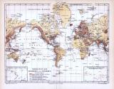 Verbreitung der Erdbeben und Seebeben als farbig illustrierte Weltkarte aus dem Jahr 1893.