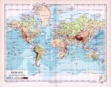 Farbig illustrierte Weltkarte aus dem Jahr 1893. Erdkarte...