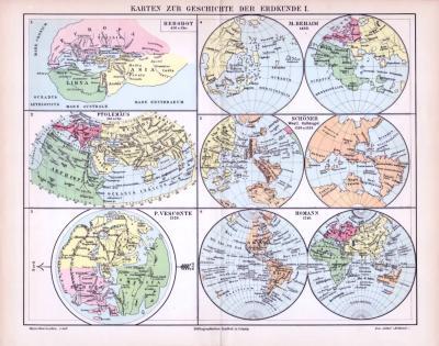 Farbige Illustration zur Entwicklung der Darstellungen der Erdkunde von Herodot bis Homann.
