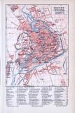 Farbig illustrierter Stadtplan von Erfurt aus 1893 im Maßstab 1 zu 20.000.