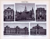 Der Stich aus 1893 zeigt 5 Dredner Bauten.