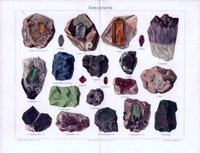 Farbige Chromolithographie aus 1893 mit der Abbildung von 21 Edelsteinen.