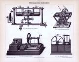 Stich aus 1893 zeigt 4 Abbildungen von elektrischen Kraftmaschinen.