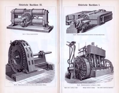 Der Stich aus dem Jahr 1893 zeigt 4 Abbildungen von elektrischen Maschinen.