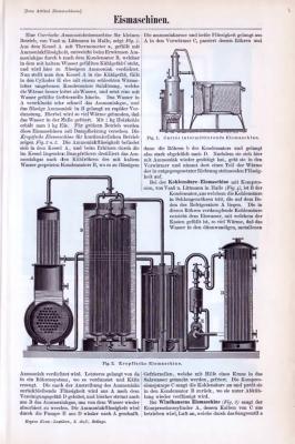 Technische Abhandlung zum Thema Eismaschinen aus 1893 mit verschiedenen Stichen.