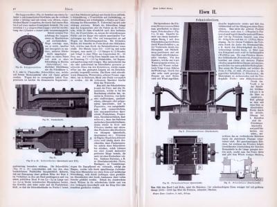 Technische Abhandlung aus 1893 zum Thema Eisen mit verschiedenen Stichen.
