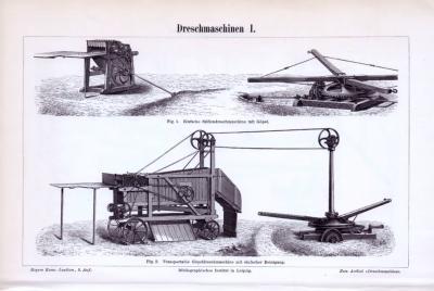 Die Stiche zeigen verschiedene landwirtschaftliche Dreschmaschinen aus dem Jahr 1893.