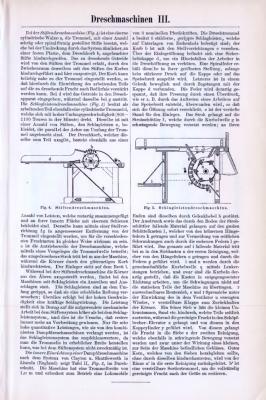 Technische Abhhandlung zum Thema  landwirtschaftliche Dreschmaschinen aus dem Jahr 1893.